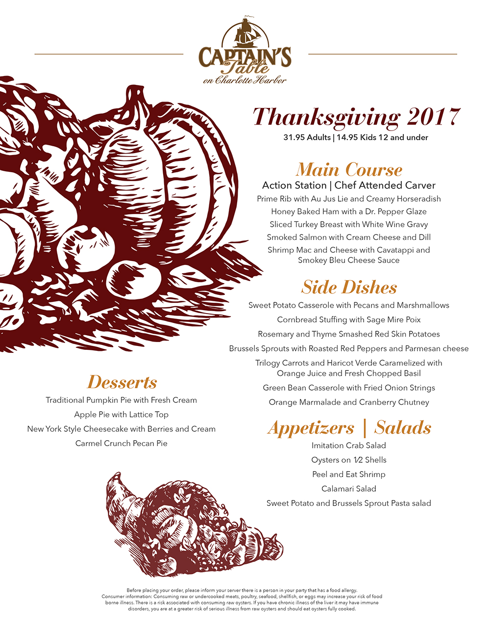 Thanksgiving Day Buffet The Captains Table - Captains table menu